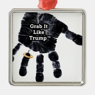Grab It Like Trump Handprint With Ring Metal Ornament