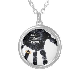 Grab It Like Trump Handprint With Ring Silver Plated Necklace