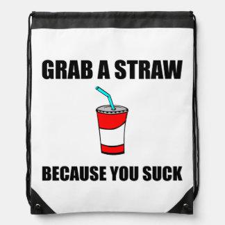 Grab Straw You Suck Drawstring Bag