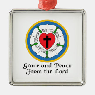 GRACE AND PEACE Silver-Colored SQUARE DECORATION