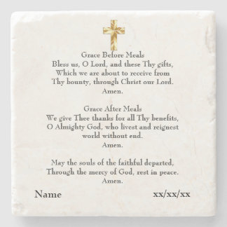 Grace Before After Meal Catholic Gift Personalized Stone Coaster