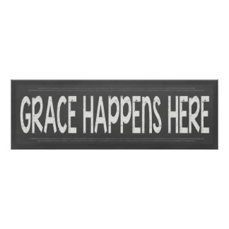 Grace Happens Here Christian Chalkboard  Look Sign