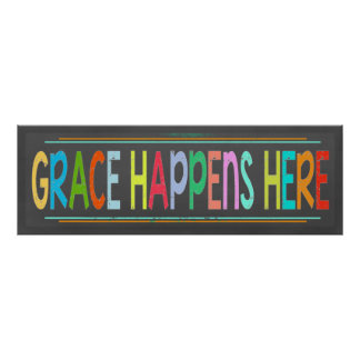 Grace Happens Here Colourful Christian Chalkboard Poster