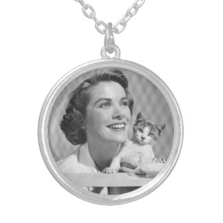 Grace Kelly and cat Silver Plated Necklace