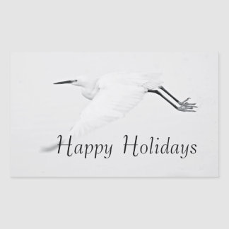 Grace of an Egret Happy Holidays Rectangular Sticker