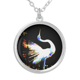 Grace of Egret Silver Plated Necklace