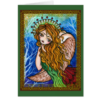 """Grace"" Scripture Primitive Angel Christmas Card"