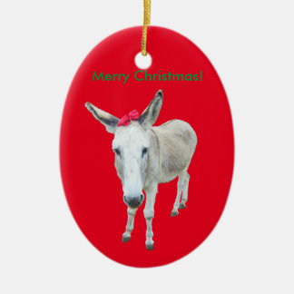 Grace the Donkey with a Red Bow Ceramic Ornament