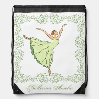 Graceful Ballerina Drawstring Bag