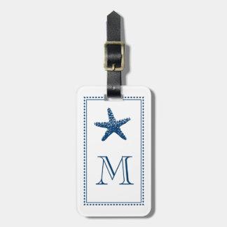 Graceful Beach Starfish Monogram BLUE Travel Bag Tags