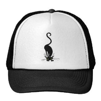Graceful Black Cat Sniffing Cap