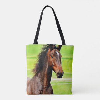 Graceful Brown Horse Green Grass Tote Bag