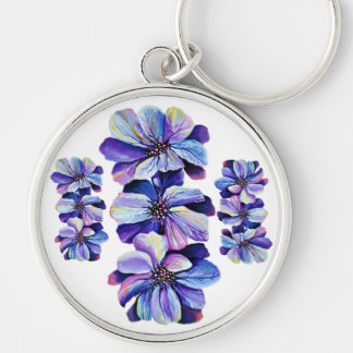 Graceful Delphinium flowers, watercolor painting Key Ring