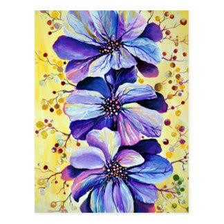Graceful Delphinium Flowers, Watercolor Painting Postcard