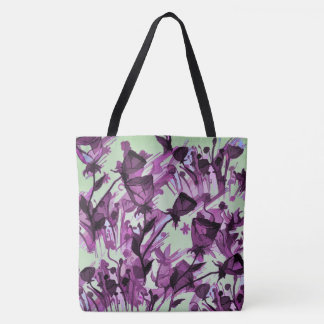 Graceful Flowing Flowers All Over Print Tote Bags