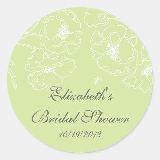 Graceful Green Poppy Floral Bridal Shower Square Round Sticker