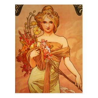 Graceful Lady with Flowers Vintage Postcard