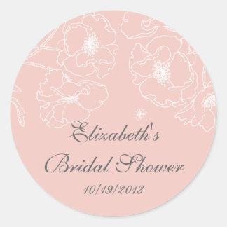 Graceful Pink Poppy Floral Bridal Shower Square Round Sticker