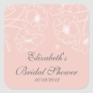 Graceful Pink Poppy Floral Bridal Shower Square Square Sticker