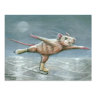 Graceful Rat Skating Postcard