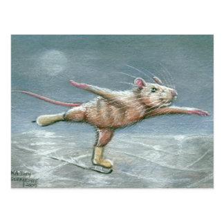 Graceful Rat Skating Postcard