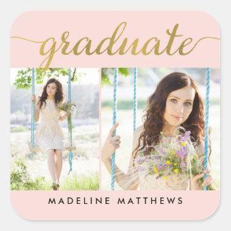 Graceful Script EDITABLE COLOR Graduation Stickers