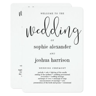 Graceful Script Wedding Ceremony Program Black