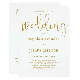 Graceful Script Wedding Ceremony Program Gold