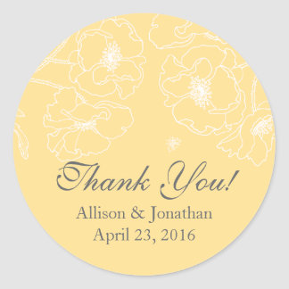 Graceful Yellow Poppy Floral Thank You Wedding Classic Round Sticker