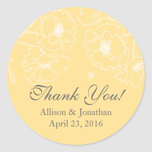 Graceful Yellow Poppy Floral Thank You Wedding Round Stickers