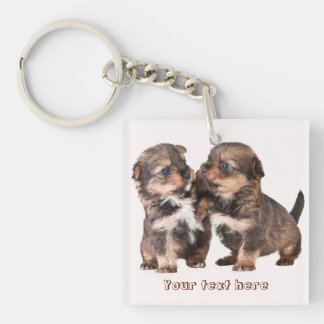 Graceful Yorkshire Puppies Key Ring