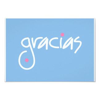 Gracias blue and white lettering gift enclosure 9 cm x 13 cm invitation card