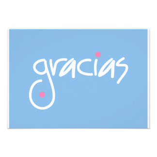 Gracias blue and white lettering gift enclosure personalized invites