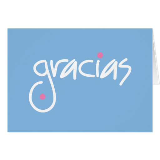 Gracias blue thank you in any language greeting card