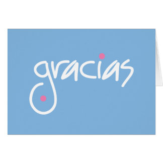Gracias blue thank you in any language note card