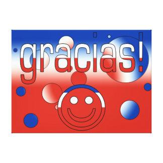 Gracias Chile Flag Colors Pop Art Stretched Canvas Print