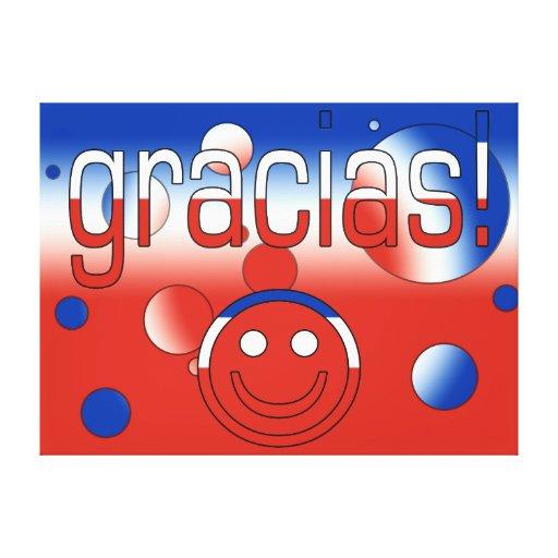 Gracias! Chile Flag Colors Pop Art Stretched Canvas Print