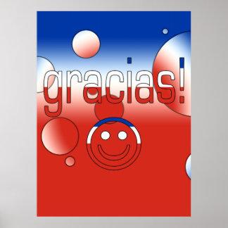 Gracias Chile Flag Colors Pop Art Print