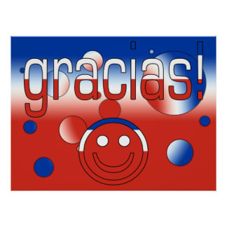 Gracias Chile Flag Colors Pop Art Posters