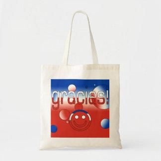 Gracias! Chile Flag Colours Pop Art Budget Tote Bag