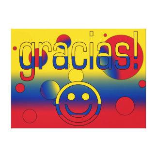 Gracias Colombia Flag Colors Pop Art Stretched Canvas Print