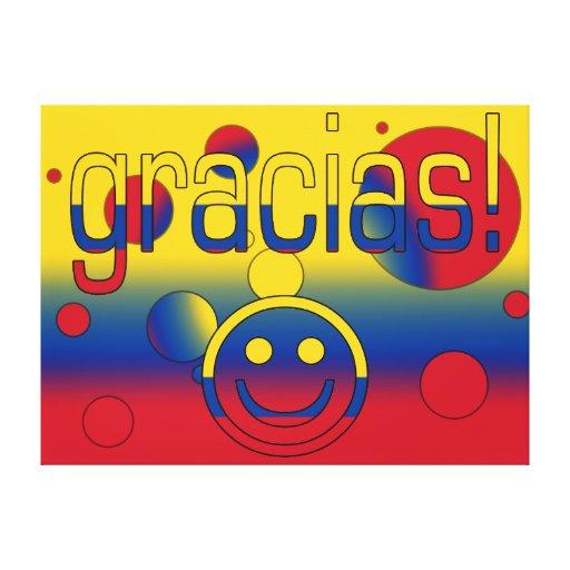 Gracias! Colombia Flag Colors Pop Art Stretched Canvas Print