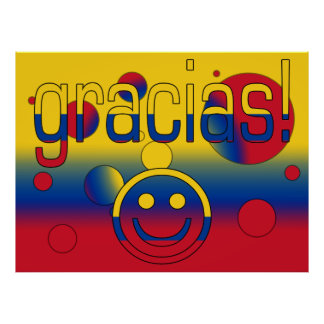 Gracias! Colombia Flag Colors Pop Art Poster