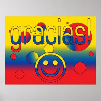 Gracias Ecuador Flag Colors Pop Art Print