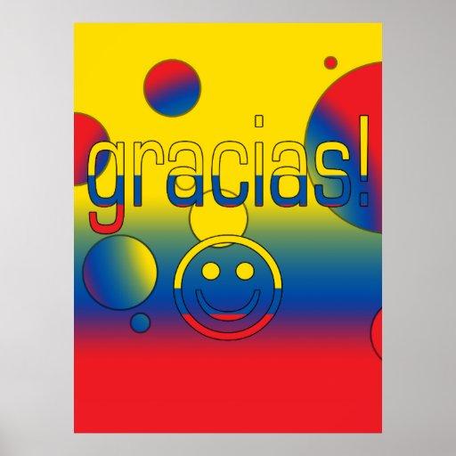 Gracias! Ecuador Flag Colors Pop Art Poster