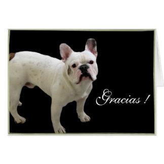 Gracias French bulldog greeting card