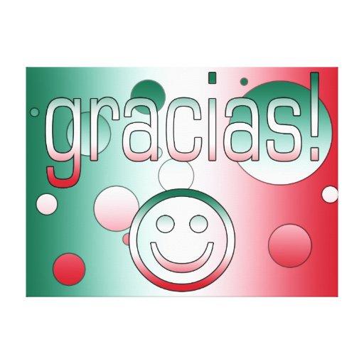 Gracias! Mexico Flag Colors Pop Art Stretched Canvas Print