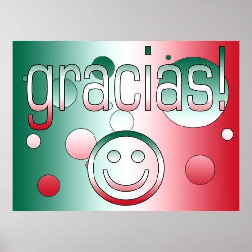 Gracias! Mexico Flag Colors Pop Art Print