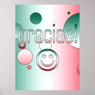 Gracias Mexico Flag Colors Pop Art Posters