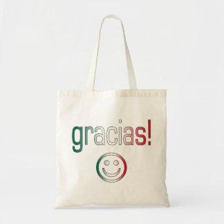 Gracias Mexico Flag Colors Tote Bags